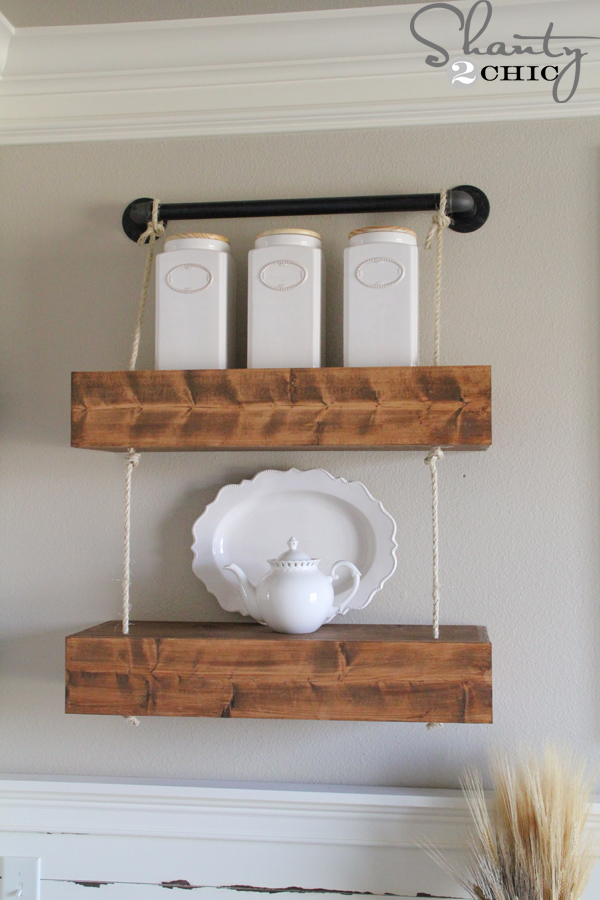 Rope and Pipe Floating Shelves - Shanty 2 Chic