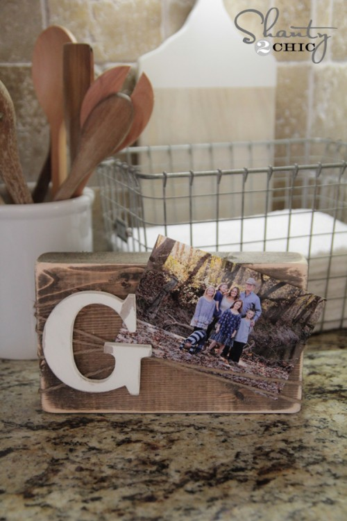 DIY Wood Block Frame by Shanty2Chic... Great gift idea and so cheap!