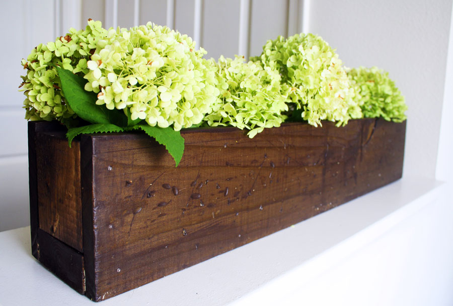 Rustic planter box centerpiece shanty chic