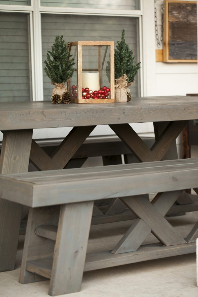 diy outdoor patio table benches shanty 2 chic. Black Bedroom Furniture Sets. Home Design Ideas