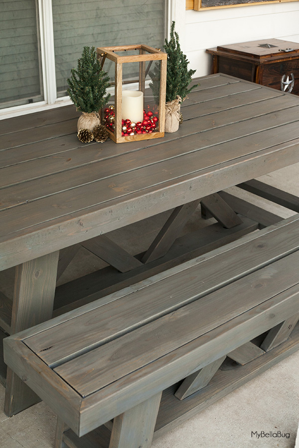 Diy outdoor patio table benches shanty 2 chic diy outdoor table watchthetrailerfo