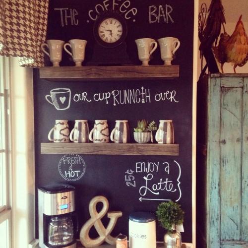 Home Bar Plans: Floating Shelf Coffee Bar