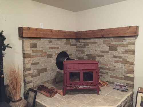 I made two 5 feet long mantels using your directions for the media shelve.  I stained it with two coast of oak color stain then finshed it off with a  quick ... - Wood Stove Mantle - Shanty 2 Chic