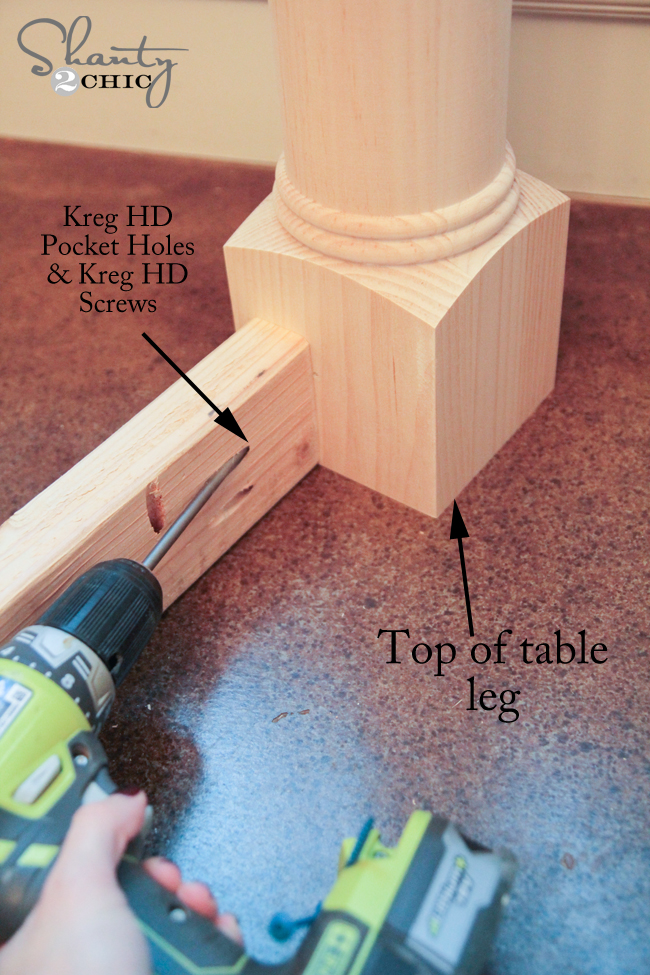 Attaching apron to table legs