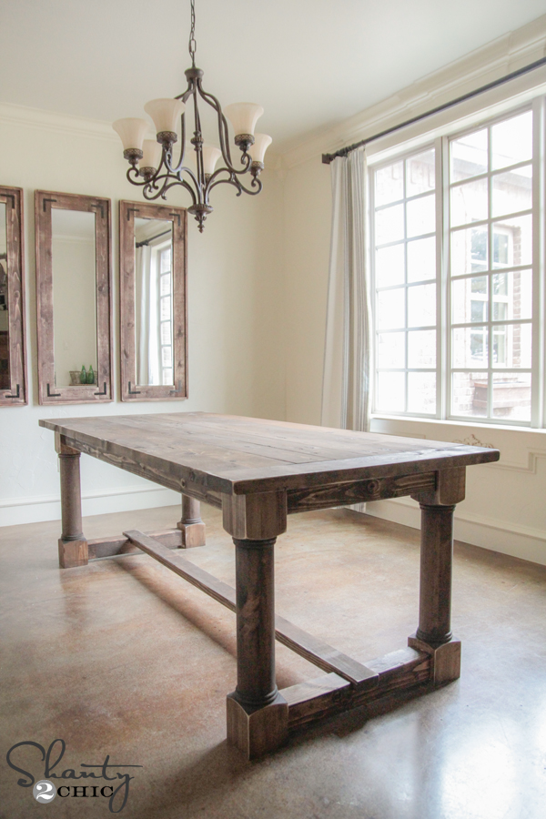 Diy dining table with turned legs shanty 2 chic for Table leg design ideas