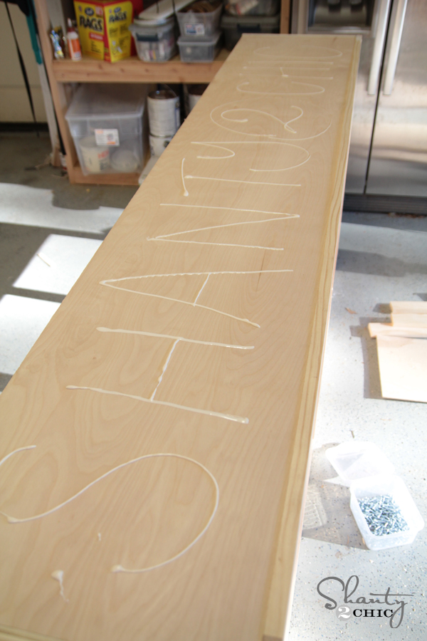 Wood glue for the top of the buffet