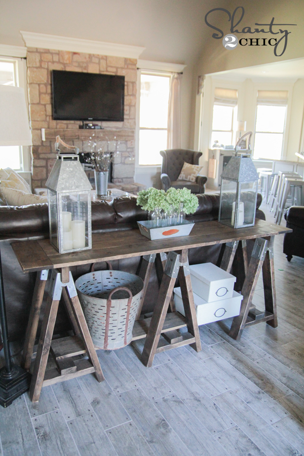 DIY Sawhorse Console Table - Shanty2Chic