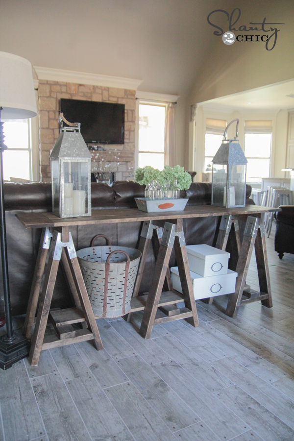 Diy Sawhorse Console Table Shanty 2 Chic