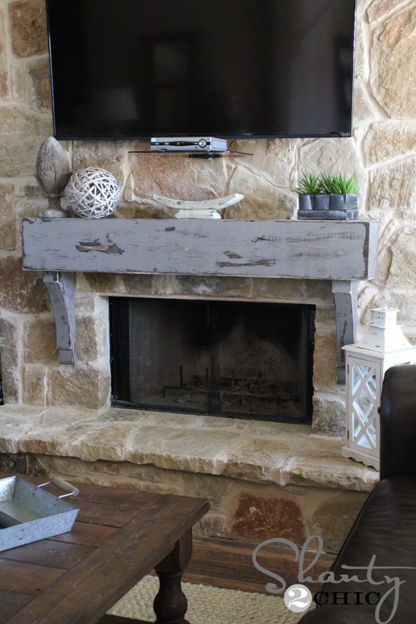 How to build and hang a mantel on a stone fireplace shanty 2 chic rustic diy mantel solutioingenieria Images