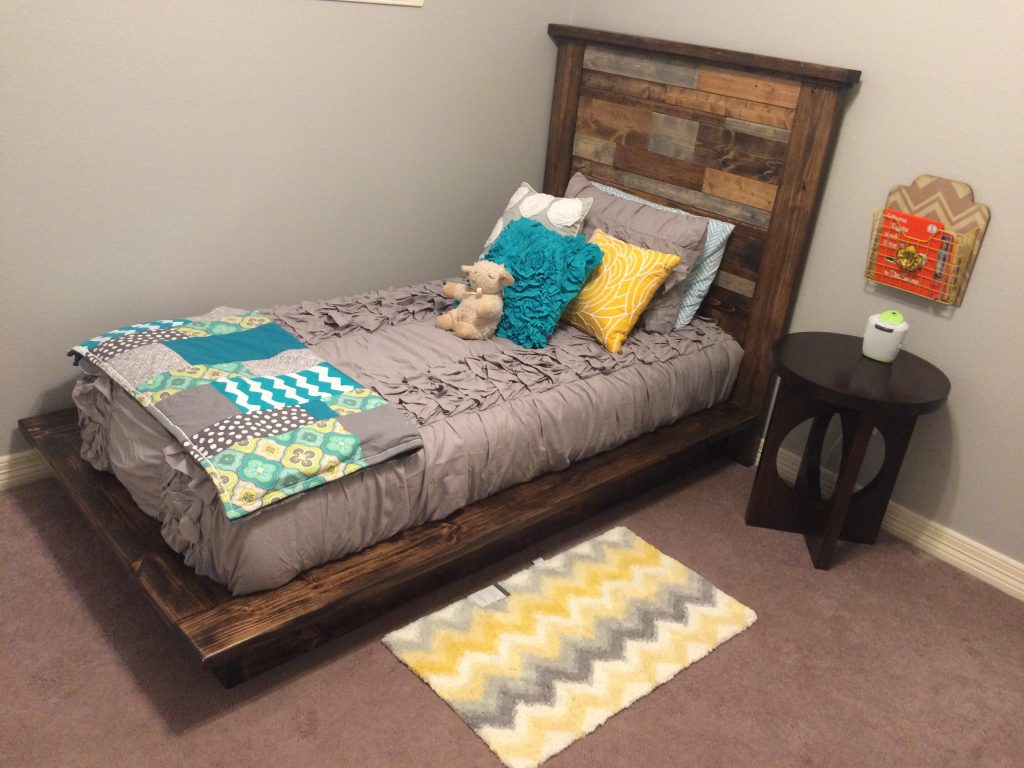 Diy platform bed headboard twin shanty 2 chic for Simple diy platform bed