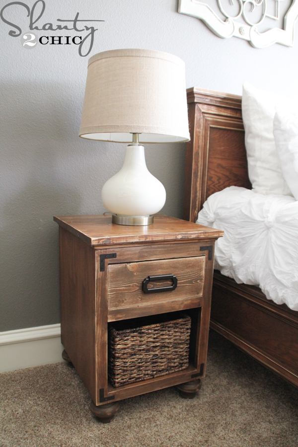 Diy nightstand with bun feet shanty 2 chic for Nightstand plans