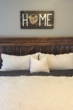 New Bedroom – Farmhouse bed + HOME sign + Bedside tables
