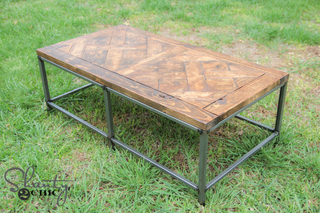 diy metal and wood coffee table - shanty 2 chic
