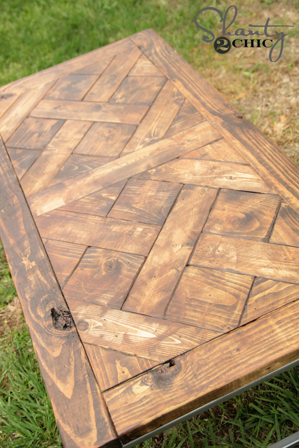diy metal and wood coffee table shanty 2 chic. Black Bedroom Furniture Sets. Home Design Ideas