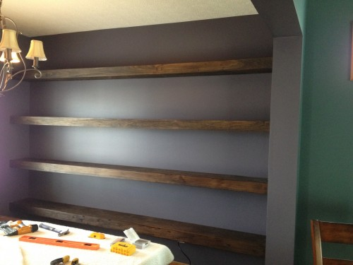 Wall To Wall Floating Shelves In Dining Room Shanty 2 Chic