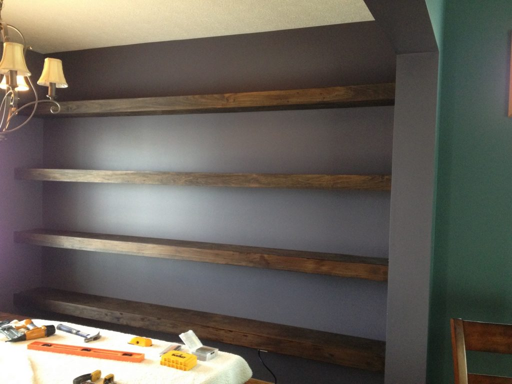 Wall-to-wall Floating Shelves in Dining Room - Shanty 2 Chic