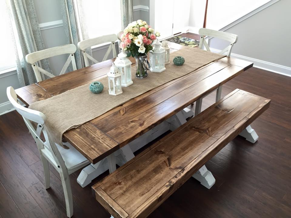 Farmhouse Table & Bench - Shanty 2 Chic