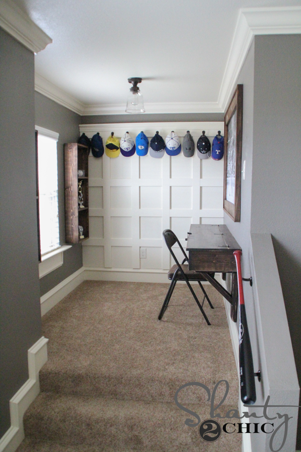 Diy board and batten hat rack shanty 2 chic for Ways to hang hats on wall