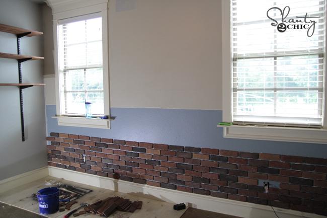 DIY Brick Wall Progress