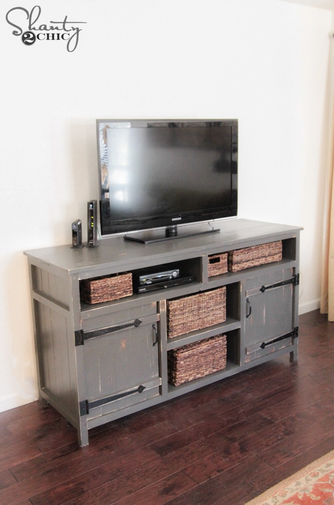 Diy media console free plans shanty 2 chic bloglovin - Media consoles for small spaces plan ...