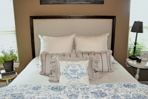 upholstered headboard with wood trim  clandestin, Headboard designs