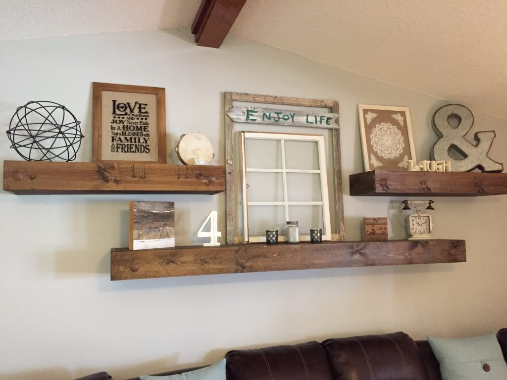 Wall Decor For Over Couch : Floating shelves shanty chic