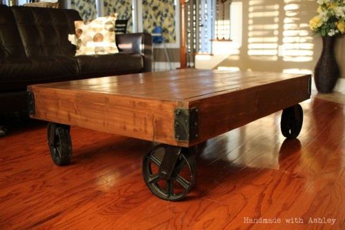 diy industrial factory cart coffee table - shanty 2 chic