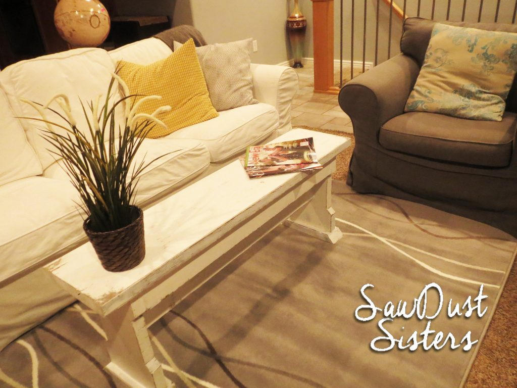 diy narrow coffee table or country bench tutorial shanty 2 chic. Black Bedroom Furniture Sets. Home Design Ideas