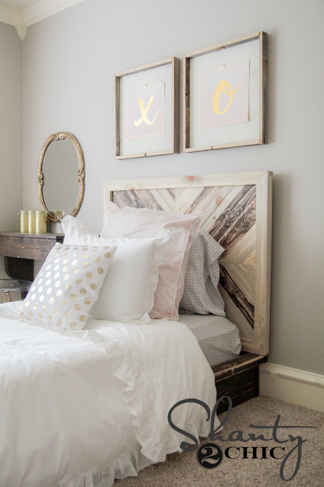 DIY Twin Platform Chevron Bed - Shanty 2 Chic