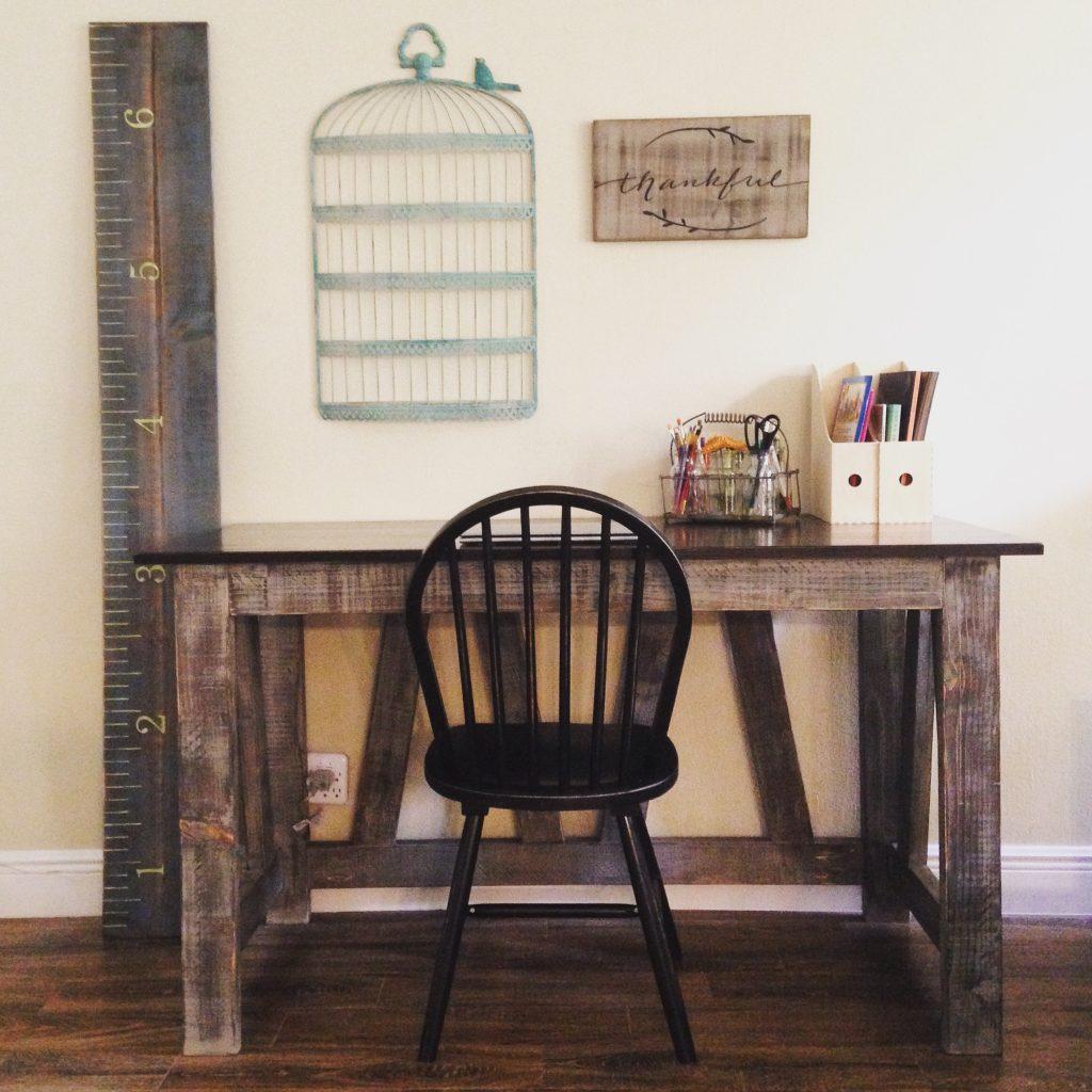 Truss Desk with barnwood looking base and dark walnut