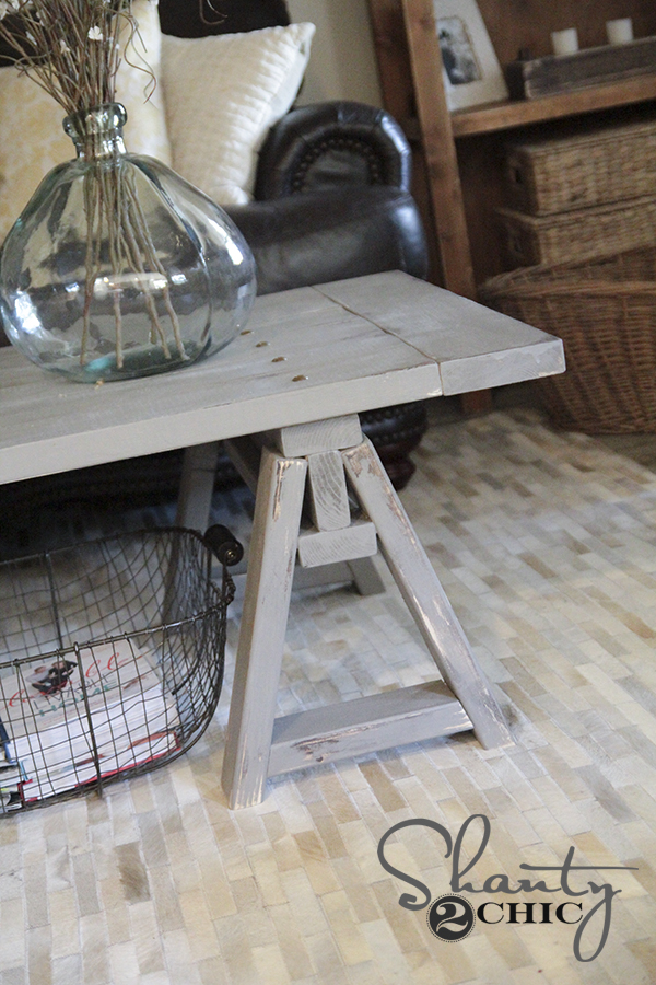 Diy Sawhorse Coffee Table Free Plans Tutorial With Helpful Tips