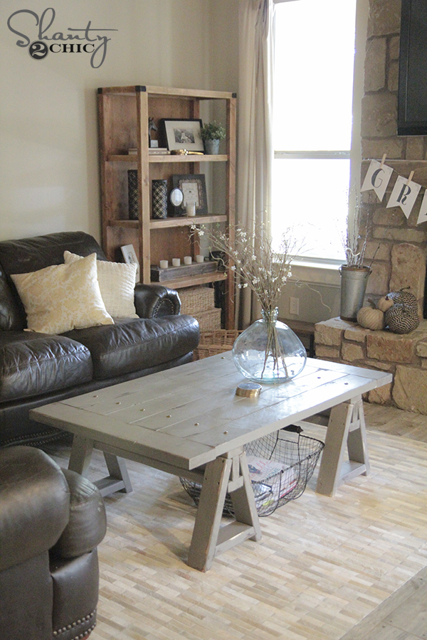 DIY Sawhorse Coffee Table Free Plans by Shanty2Chic