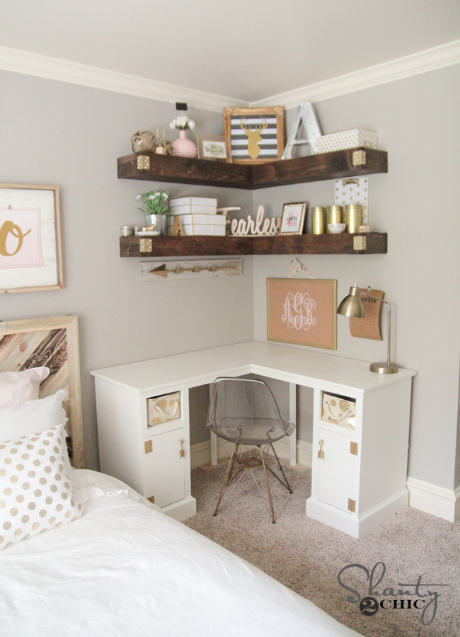 Diy floating corner shelves sufey - Corner desks with shelves ...