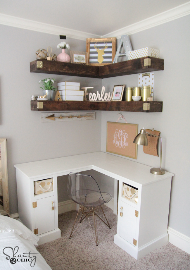 DIY Corner Shelves Free Plans by Shanty2Chic