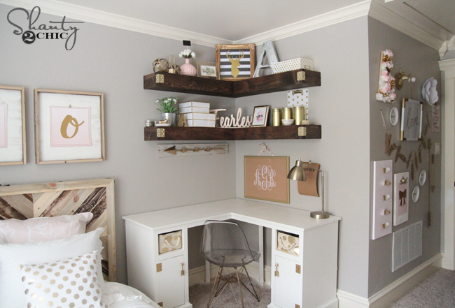 DIY Floating Corner Shelves Free Plans