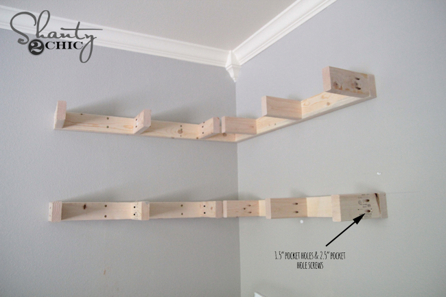 Diy floating corner shelves shanty 2 chic for How to make wall shelves easy