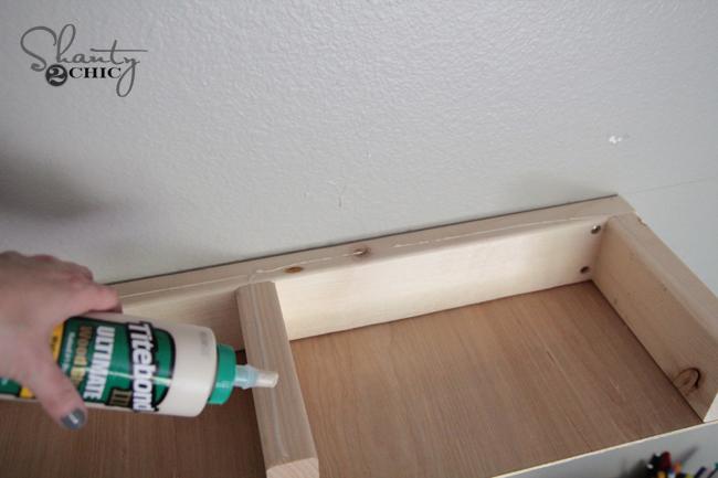 add wood glue to top of shelf