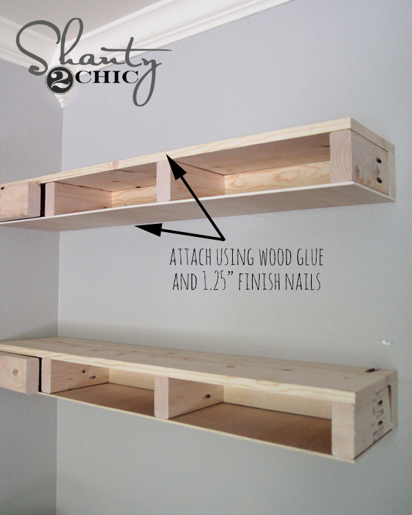 Diy floating corner shelves shanty 2 chic for How to make wood shelves on wall
