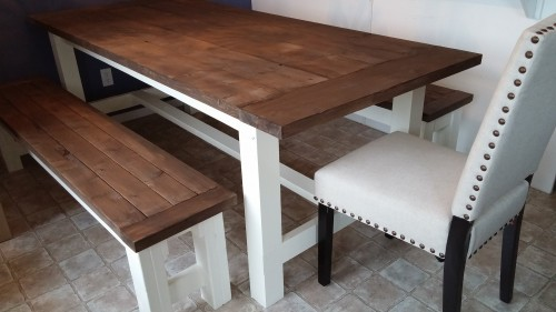 farmhouse table and bench Shanty 2 Chic