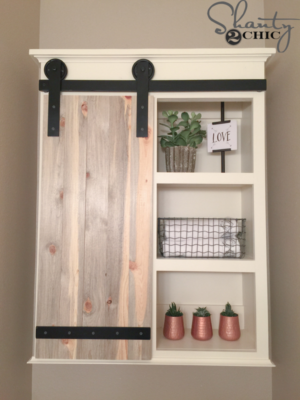 Diy sliding barn door bathroom cabinet shanty 2 chic Diy white cabinets