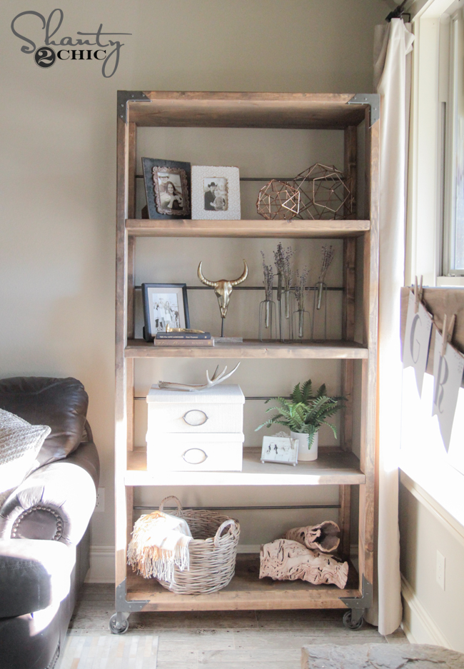 Diy industrial cart bookcase shanty 2 chic for Diy industrial bookshelf