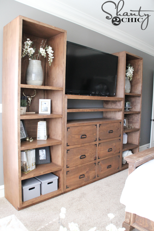 Diy shelves for my sliding barn door media console shanty 2 chic - Media consoles for small spaces plan ...