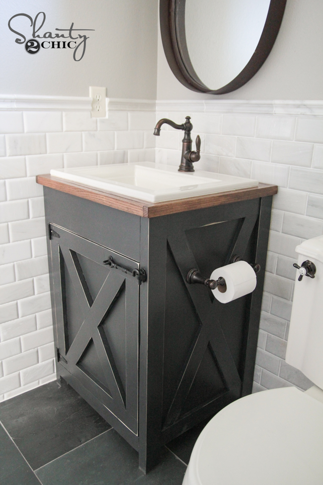 Diy farmhouse bathroom vanity shanty 2 chic for Diy bathroom sink cabinet