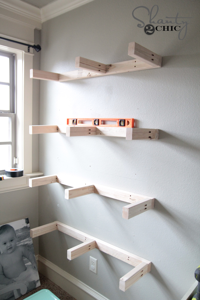 Diy floating shelves plans and tutorial shanty 2 chic for How to build a wall bar