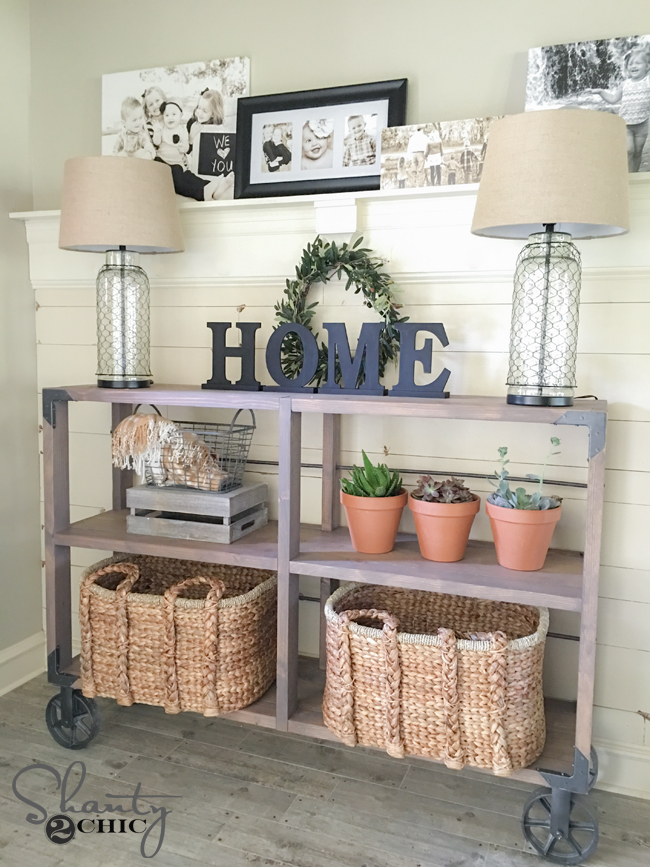 Diy industrial cart console table shanty chic