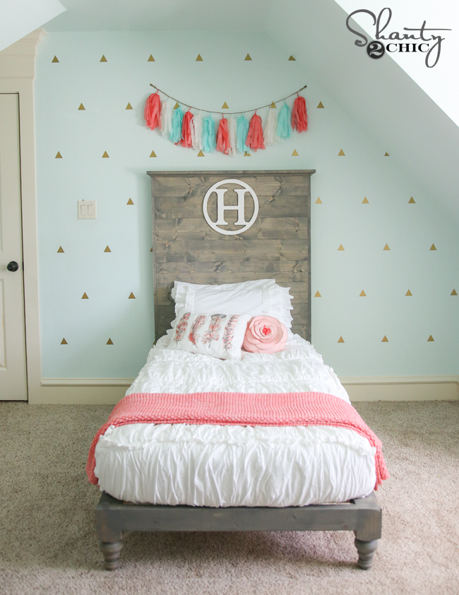 Diy twin platform bed and headboard shanty 2 chic for Little girl twin bed frame