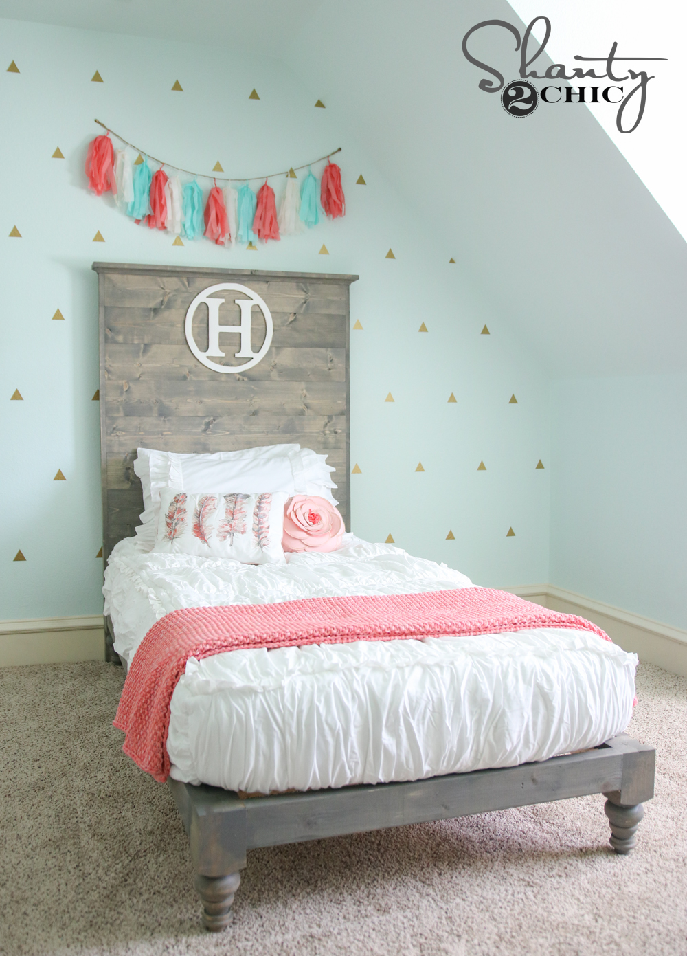 diy twin platform bed and headboard shanty 2 chic On make a twin headboard