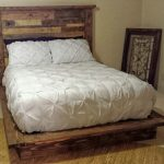 Platform bed with planked headboard