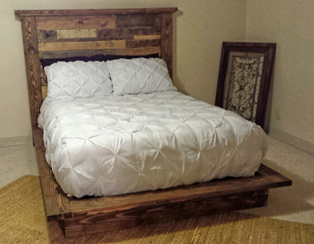 platform bed with planked headboard shanty 2 chic