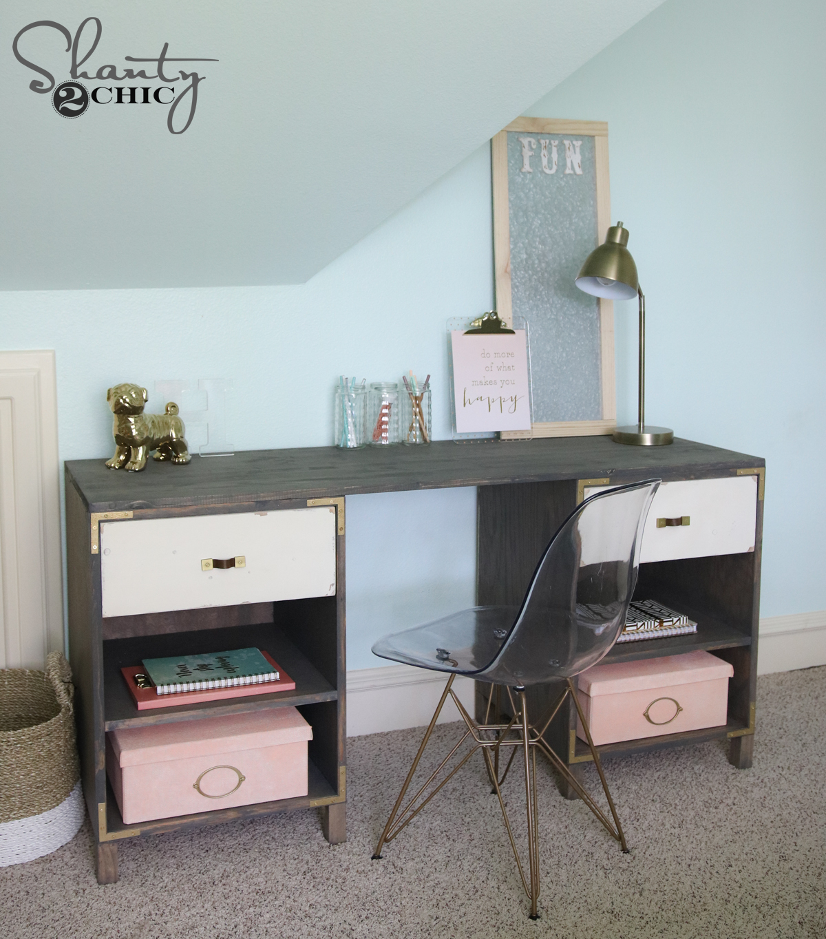 diy cubby storage desk shanty 2 chic